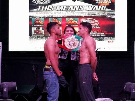 Jonathan Perez, left, and Vicente Alfaro face off earlier tonight in Minneapolis. The two meet tomorrow night for Alfaro's State jr. featherweight title.